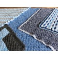 Hand Knitted Blanket - Medium Blues