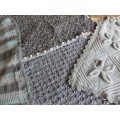 Hand Knitted Blanket - Medium Greys