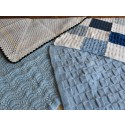 Hand Knitted Blanket - Small Blues