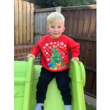 Kids Red Christmas Tree Jumper