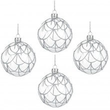 Set of 4 Glass Baubles (Silver Glitter)