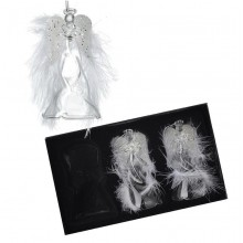 Glass Angel With Feather Wings Set