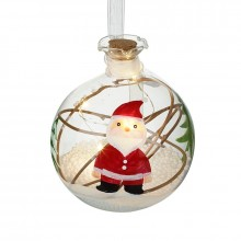 Glass LED Bauble With Santa