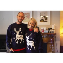 Adult Navy Personalised Reindeer Sweatshirt