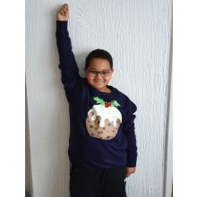 Kids Navy Christmas Pudding Sweatshirt
