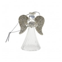 Hanging Glass Angel (Silver Glitter Wings)