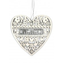 'Engaged' Glitter Heart Fret Dec