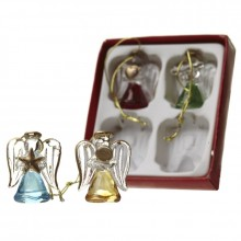 Set Of Small Hanging Glass Pastel Angels