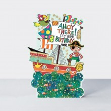 Ahoy There! Pirate Ship Birthday Card
