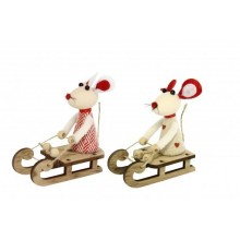 Fabric Boy/Girl Mouse on Wood Sledge