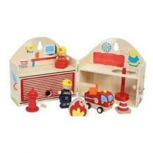 Fire Station Wood Play Set