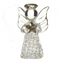 Hanging Glass Angel With Gold Star