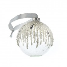 Hanging glass bauble white and sliver bead