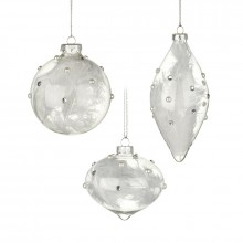 Clear glass bauble with feathers mix (1 Decoration)