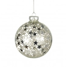 Glass Silver Stars Bauble