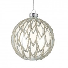 Clear Glass Bauble With Glitter Design
