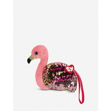 Gilda Flamingo flippable-sequin wristlet