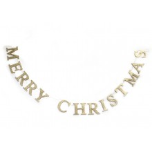Gold Glitter Merry Christmas Garland