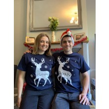 Adult Navy Personalised Reindeer T-shirt