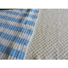 Hand Knitted Blanket - Large Blue