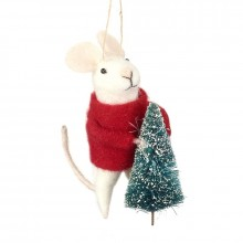 Wool Hanging Christmas Mouse