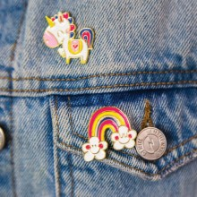 Set of Enamel Pins - Rainbow and Unicorn