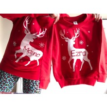 Adult Red Personalised Reindeer Sweatshirt