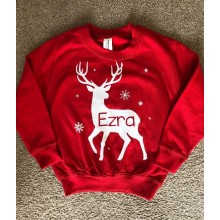 Kids Red Personalised Reindeer Sweatshirt