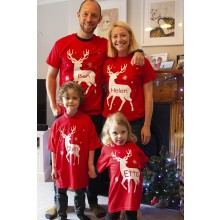Adult Red Personalised Reindeer T-shirt