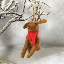 Eco Wool Dog with Antlers