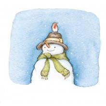 Snowman with robin