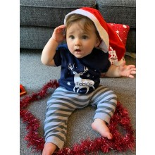 Kids Navy Personalised Reindeer T-shirt