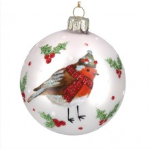 Glass bauble with robin and holly