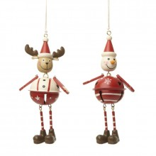 Hanging metal snowman and reindeer