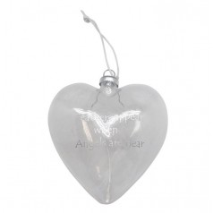 Hanging Glass Heart - Feathers Appear